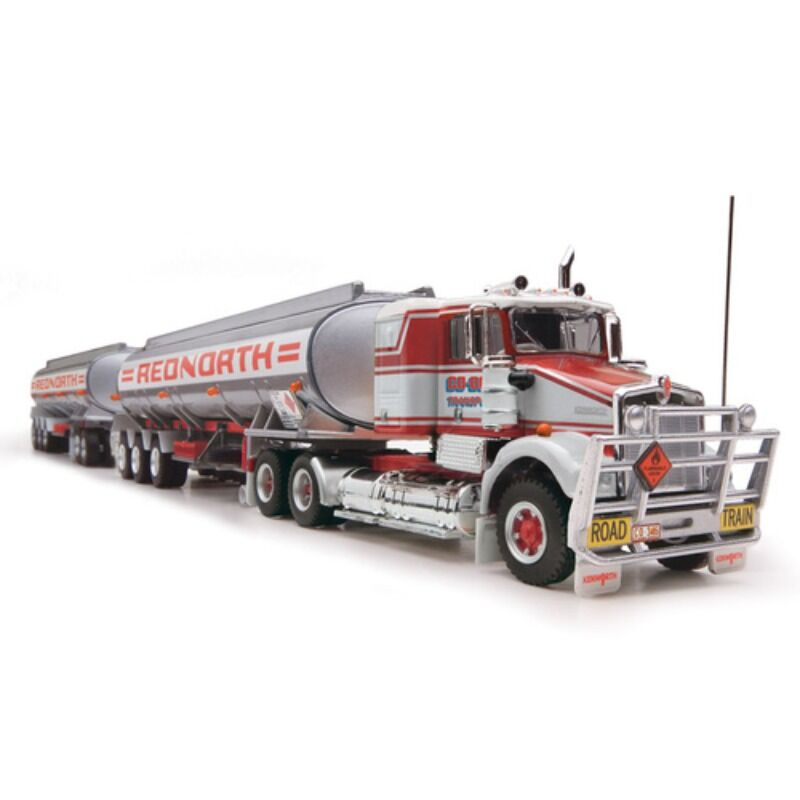 Highway Replicas 12017 164 Tanker Road Train  Red North Prime Mover Dolly and 2 x Tanker Trailers