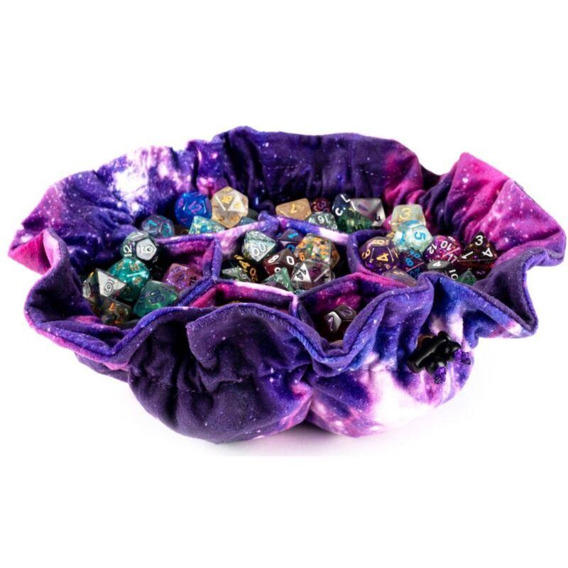 MDG  Velvet Compartment Dice Bag with Pockets  Nebula