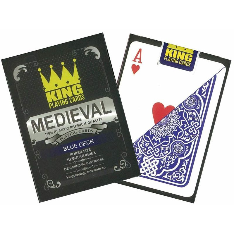 Playing Cards Single  Medieval 100 Plastic Blue