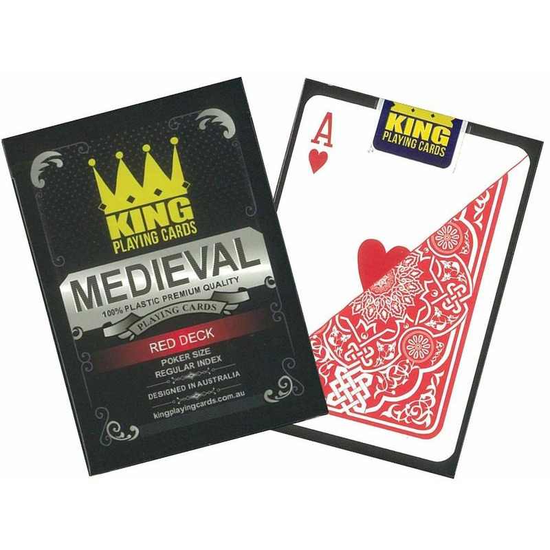 Playing Cards  Medieval 100 Plastic Red