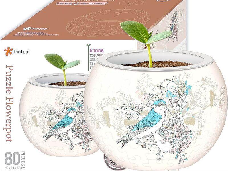 Puzzle Flowerpot  Birds andamp Flowers