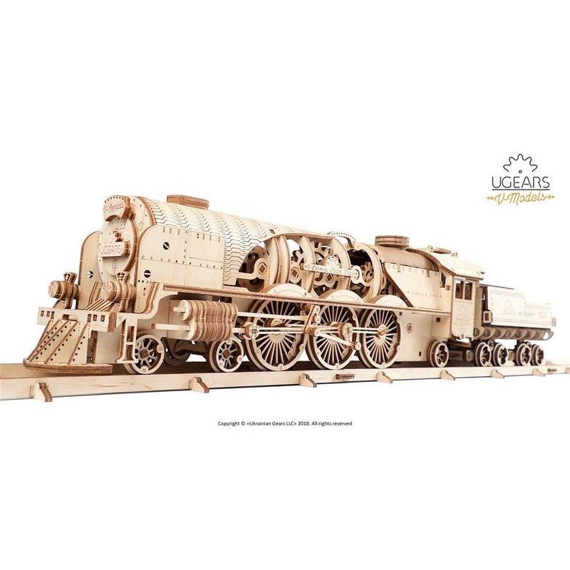Ugears  VExpress Steam Train with Tender mechanical model kit